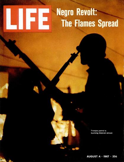 Negro Revolt Detroit Troops Patrol 4 Aug 1967 Copyright Life Magazine | Life Magazine Color Photo Covers 1937-1970