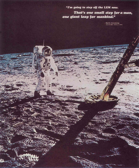 Neil Amstrong One Small Step For A Man 1969 | Vintage War Propaganda Posters 1891-1970