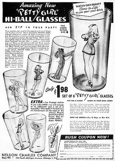 Nelson Charles Co Petty Girl Hi-Ball Glasses George Petty Sex Appeal   Sex Appeal Vintage Ads and Covers 1891-1970