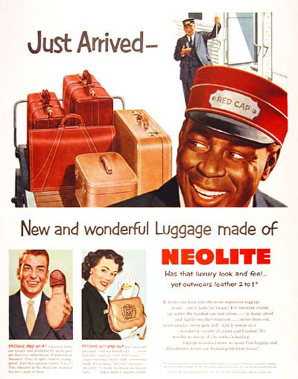 Neolite Luggage Red Cap 1951 Luxery Look Feel | Vintage Ad and Cover Art 1891-1970