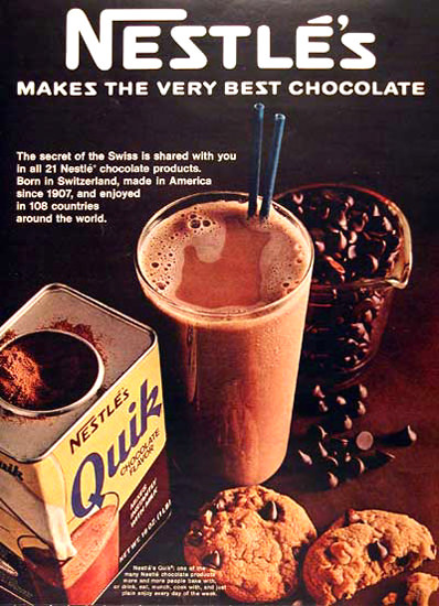 Nestle 1968 Nestles Quik Makes Best Chocolate | Vintage Ad and Cover Art 1891-1970