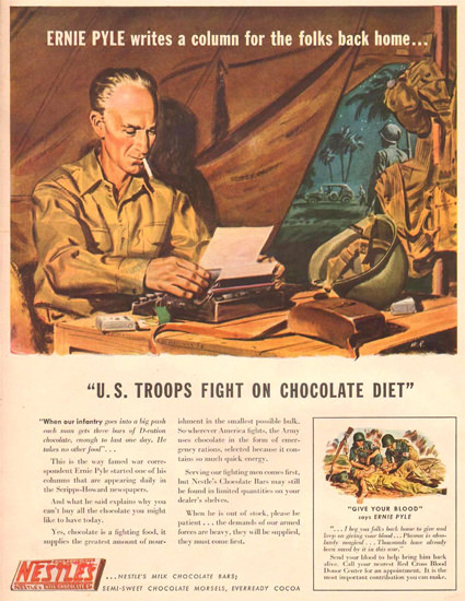 Nestle Ernie Pyle Fight On Chocolate Diet 1943 | Vintage War Propaganda Posters 1891-1970