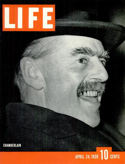 Neville Chamberlain 24 Apr 1939 Copyright Life Magazine | Life Magazine BW Photo Covers 1936-1970