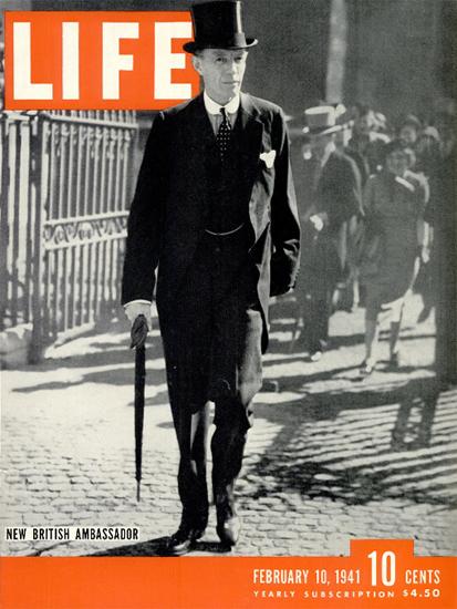 New British Ambassador 10 Feb 1941 Copyright Life Magazine   Life Magazine BW Photo Covers 1936-1970