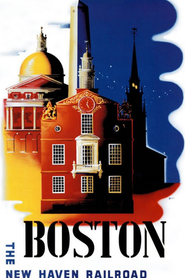New Haven Railroad Boston Down Town 1950s | Vintage Travel Posters 1891-1970