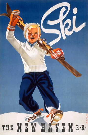 New Haven Railroad Ski Boy Snow   Vintage Travel Posters 1891-1970