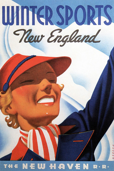 New Haven Railroad Winter New England 1937 | Vintage Travel Posters 1891-1970