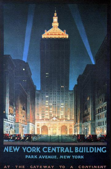 New York Central Building Park Avenue 1930 | Vintage Travel Posters 1891-1970