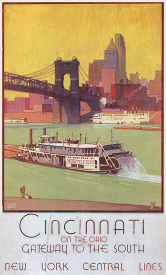 New York Central Cincinnati Ohio Gateway 1935 | Vintage Travel Posters 1891-1970