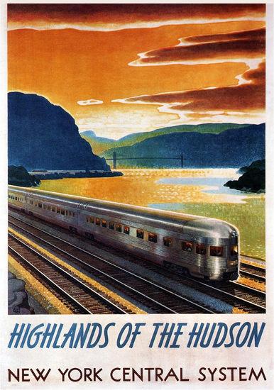 New York Central Highlands Of The Hudson 1947 | Vintage Travel Posters 1891-1970