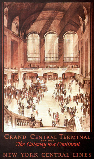 New York Central Lines Central Terminal 1927 | Vintage Travel Posters 1891-1970