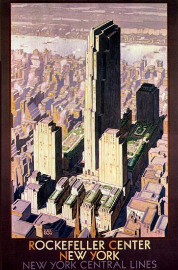 New York Central Lines Rockefeller Center 1936 | Vintage Travel Posters 1891-1970