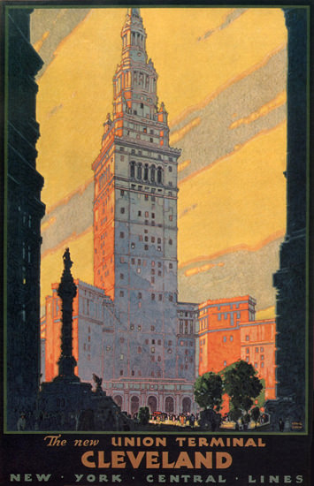 New York Central Union Terminal Cleveland 1930 | Vintage Travel Posters 1891-1970