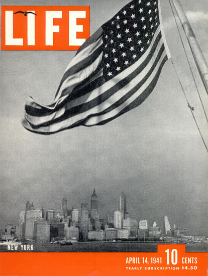 New York in Stars and Stripes 14 Apr 1941 Copyright Life Magazine | Life Magazine BW Photo Covers 1936-1970