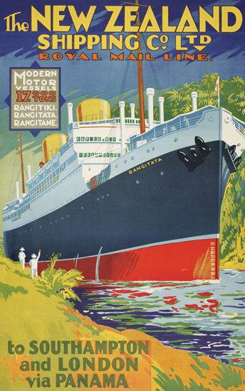 New Zealand 1930 Southampton London Panama | Vintage Travel Posters 1891-1970