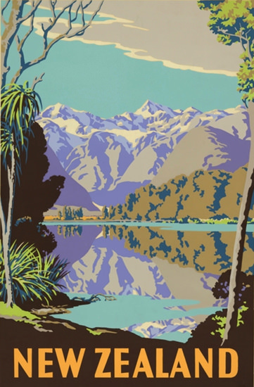 New Zealand 1930s Mountains Lake | Vintage Travel Posters 1891-1970