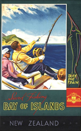 New Zealand Bay Of Islands 1930s Holmwood | Vintage Travel Posters 1891-1970