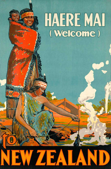 New Zealand Haere Mai Welcome 1920s | Vintage Travel Posters 1891-1970
