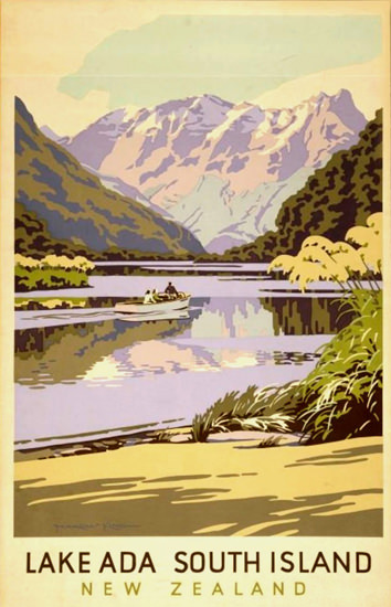 New Zealand Lake Ada South Island 1930s | Vintage Travel Posters 1891-1970