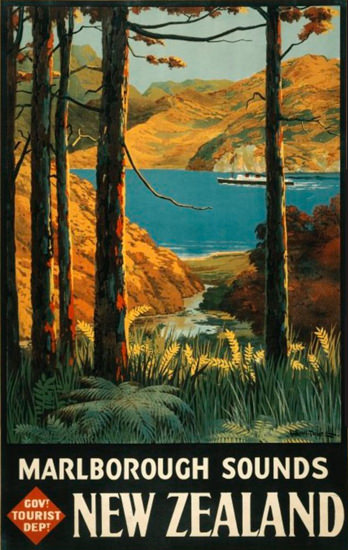 New Zealand Marlborough Sounds 1930s | Vintage Travel Posters 1891-1970