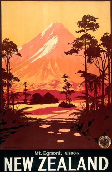 New Zealand Mount Egmont 8260ft 1930s | Vintage Travel Posters 1891-1970