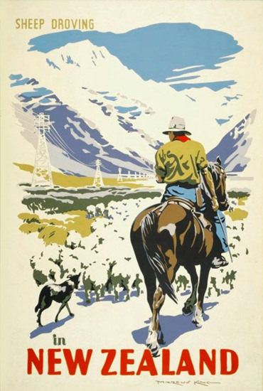 New Zealand Sheep Droving 1930s | Vintage Travel Posters 1891-1970