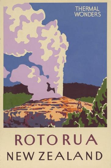 New Zealand Thermal Wonders Rotorua 1930s | Vintage Travel Posters 1891-1970
