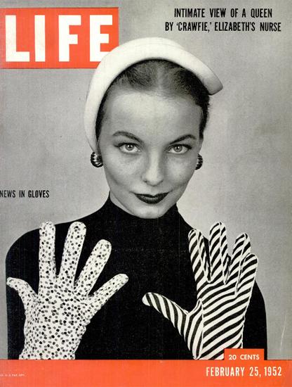 News in Gloves 25 Feb 1952 Copyright Life Magazine | Life Magazine BW Photo Covers 1936-1970