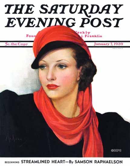 Neysa McMein Cover Artist Saturday Evening Post 1939_01_07 | The Saturday Evening Post Graphic Art Covers 1931-1969