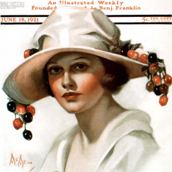 Neysa McMein Saturday Evening Post Cherry 1921_06_18 Copyright crop | Best of Vintage Cover Art 1900-1970