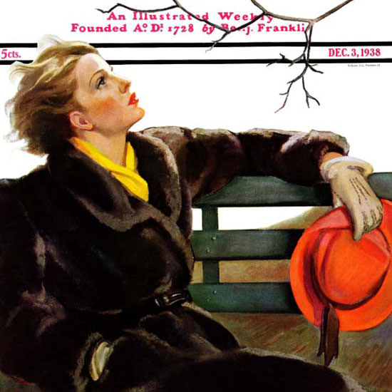 Neysa McMein Saturday Evening Post Fall Park 1938_12_03 Copyright crop | Best of 1930s Ad and Cover Art