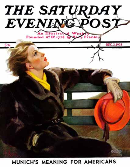 Neysa McMein Saturday Evening Post Fall in the Park 1938_12_03 | The Saturday Evening Post Graphic Art Covers 1931-1969