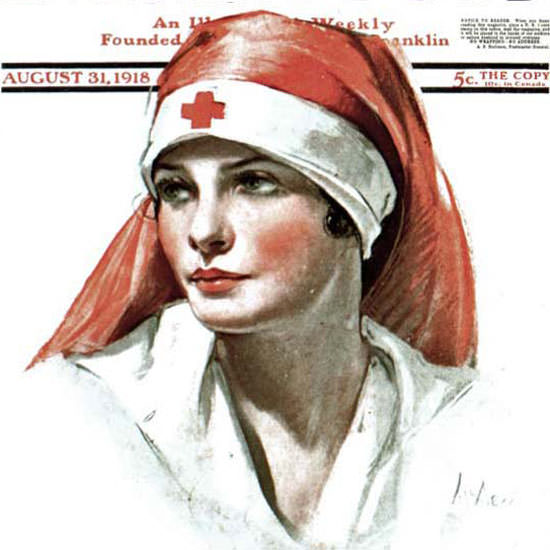 Neysa McMein Saturday Evening Post Nurse 1918_08_31 Copyright crop | Best of Vintage Cover Art 1900-1970