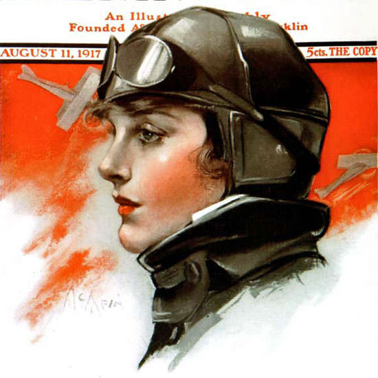 Neysa McMein Saturday Evening Post Pilot 1917_08_11 Copyright crop | Best of Vintage Cover Art 1900-1970