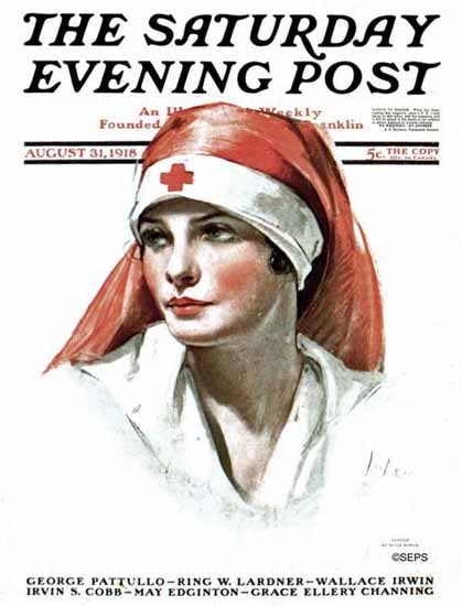 Neysa McMein Saturday Evening Post Red Cross Nurse 1918_08_31 | The Saturday Evening Post Graphic Art Covers 1892-1930