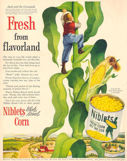 Niblets Corn Jack And The Cornstalk 1950 | Vintage Ad and Cover Art 1891-1970
