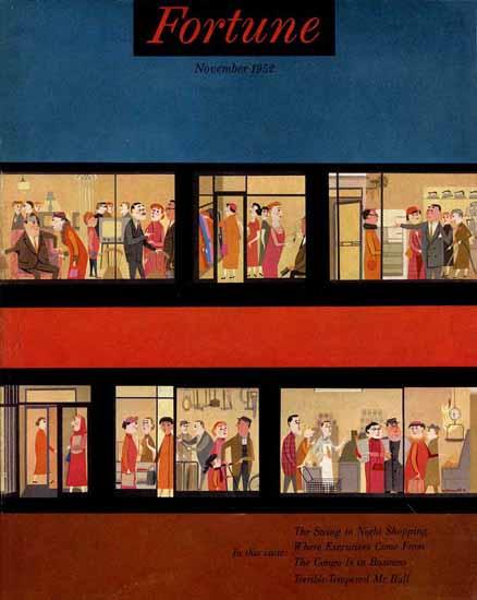Night Shopping Fortune Magazine November 1952 Copyright   Fortune Magazine Graphic Art Covers 1930-1959
