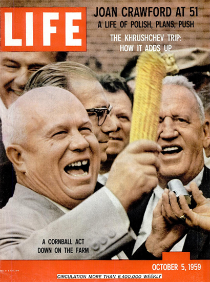 Nikita Khrushchev USA Cornball Act 5 Oct 1959 Copyright Life Magazine | Life Magazine Color Photo Covers 1937-1970