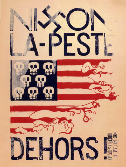 Nixon La Peste Dehors France Nixon The Pest   Vintage War Propaganda Posters 1891-1970