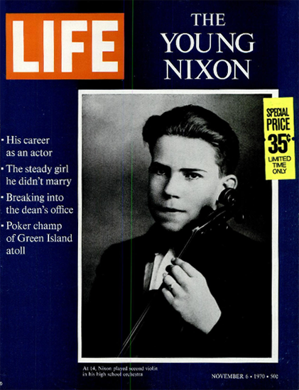 Nixon at 14 second playing Violin 6 Nov 1970 Copyright Life Magazine | Life Magazine BW Photo Covers 1936-1970