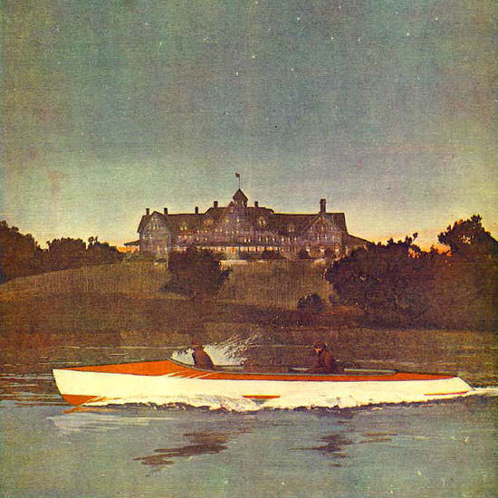 Nocturnal Boat Trip Life Humor Magazine 1908-09-03 Copyright crop | Best of Vintage Cover Art 1900-1970