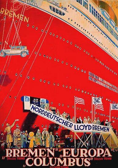 Norddeutscher Lloyd Bremen Columbus 1930 | Vintage Travel Posters 1891-1970