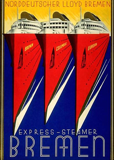 Norddeutscher Lloyd Bremen Express-Steamer | Vintage Travel Posters 1891-1970