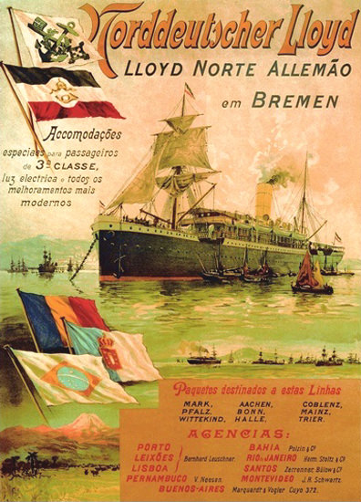 Norddeutscher Lloyd Bremen Rio De Janeiro 1898 | Vintage Travel Posters 1891-1970
