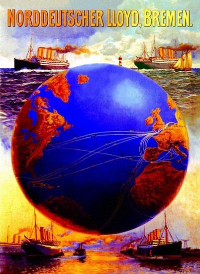 Norddeutscher Lloyd Bremen Steamers Globe   Vintage Travel Posters 1891-1970