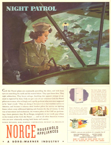 Norge Household Appliances Night Patrol 1943 | Vintage War Propaganda Posters 1891-1970