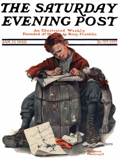 Norman Rockwell Artist Saturday Evening Post 1920_01_17 | 400 Norman Rockwell Magazine Covers 1913-1963
