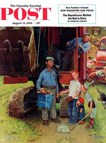 Norman Rockwell Cover Artist Saturday Evening Post 1954_08_21 | 400 Norman Rockwell Magazine Covers 1913-1963