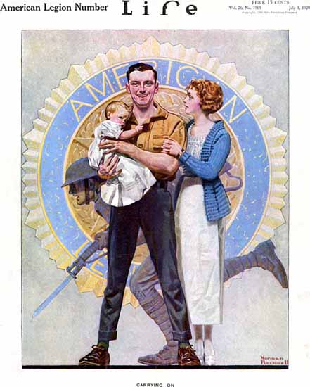 Norman Rockwell Life Magazine Carrying On 1920-07-01 Copyright | Life Magazine Graphic Art Covers 1891-1936