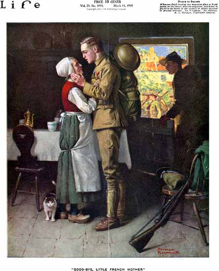 Norman Rockwell Life Magazine Good-Bye 1919-03-13 Copyright | Life Magazine Graphic Art Covers 1891-1936